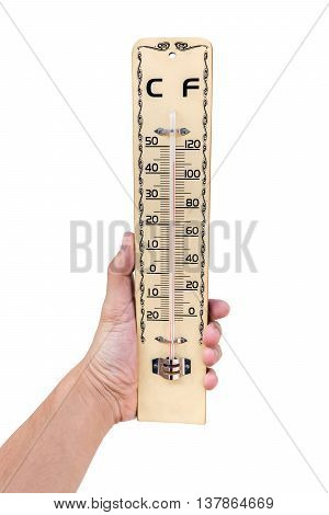 Wooden Thermometer In Hand. Isolated On White Background With Copy Space