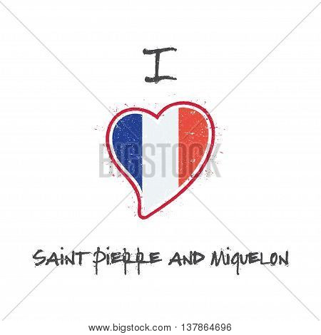 French Flag Patriotic T-shirt Design. Heart Shaped National Flag Saint Pierre And Miquelon On White