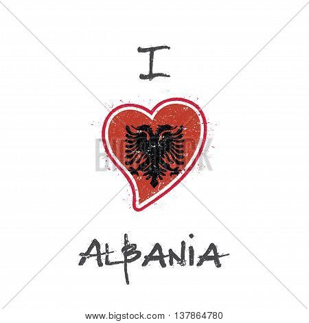 Albanian Flag Patriotic T-shirt Design. Heart Shaped National Flag Albania On White Background. Vect