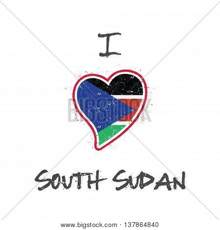 South Sudanese Flag Patriotic T-shirt Design. Heart Shaped National Flag South Sudan On White Backgr