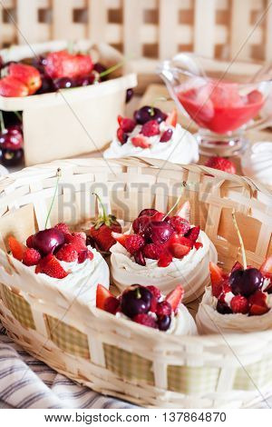 Pavlova Meringue Cake Decorated With Fresh Strawberry And Cherry