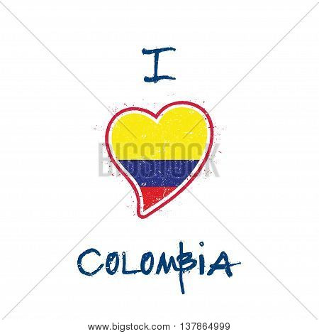Colombian Flag Patriotic T-shirt Design. Heart Shaped National Flag Colombia On White Background. Ve