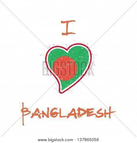 Bangladeshi Flag Patriotic T-shirt Design. Heart Shaped National Flag Bangladesh On White Background