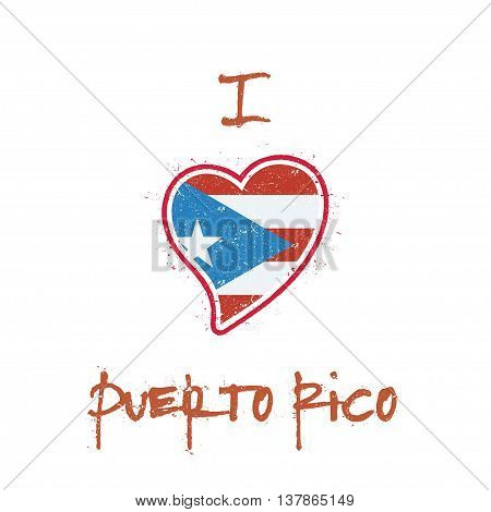 Puerto Rican Flag Patriotic T-shirt Design. Heart Shaped National Flag Puerto Rico On White Backgrou