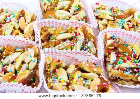 Aranzada: Typical Sardinian sweet with orange peel honey and almonds