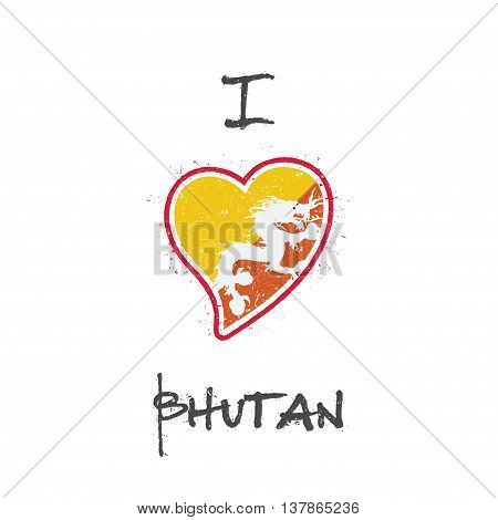 Bhutanese Flag Patriotic T-shirt Design. Heart Shaped National Flag Bhutan On White Background. Vect
