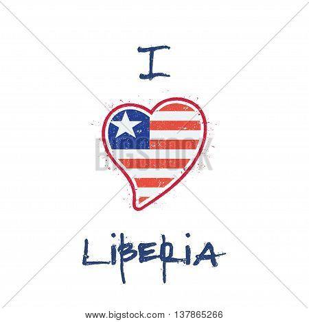 Liberian Flag Patriotic T-shirt Design. Heart Shaped National Flag Liberia On White Background. Vect