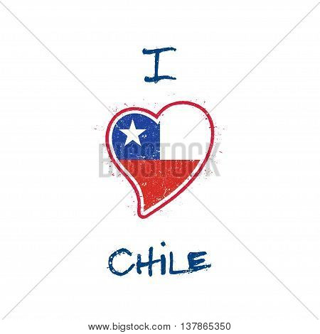 Chilean Flag Patriotic T-shirt Design. Heart Shaped National Flag Chile On White Background. Vector