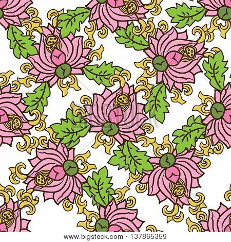 Chinese traditonal seamless pattern with pink flowers on white background. Vector design for textile wallpaper fabric packaging covers and others