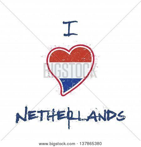 Dutch Flag Patriotic T-shirt Design. Heart Shaped National Flag Netherlands On White Background. Vec