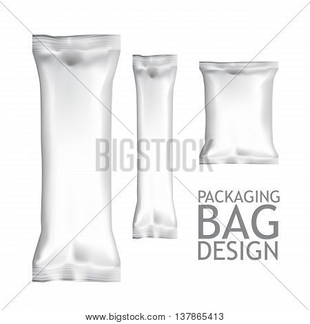 White Blank Foil Food Snack pack For Chips, Spices, Coffee, Sugar, Salt, Chocolate Bar, Candy Bar, and other products. Plastic Pack Template for your design and branding.