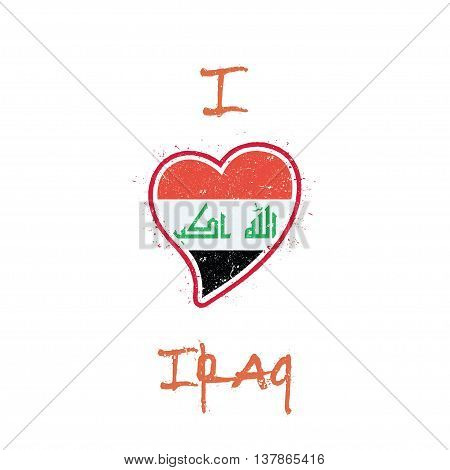 Iraqi Flag Patriotic T-shirt Design. Heart Shaped National Flag Iraq On White Background. Vector Ill