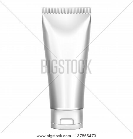 Packing White Realistic Tubes For Cosmetics Isolated On White Background. Here Can Be Creams, Toothpaste, Gel, Sauce, Paint, Glue, Ointments, Lotions, Medicines. Use Mockup For Your Design