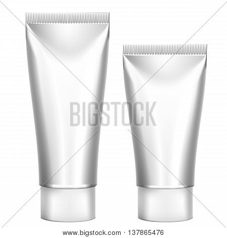 Set Packing White Realistic Tubes For Cosmetics Isolated On White Background. Here Can Be Creams, Toothpaste, Gel, Sauce, Paint, Glue, Ointments, Lotions, Medicines. Use Mockup For Your Design