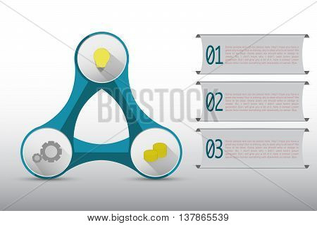 Three steps timeline infographics connected in abstract shape on rounded diagram. Three steps infographic with banners colored icons on blue triangle shape with rounded shapes on gradient gray backdrop.