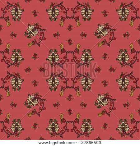 Chinese traditonal seamless pattern with flowers on red background. Vector design for textile wallpaper fabric packaging covers and others