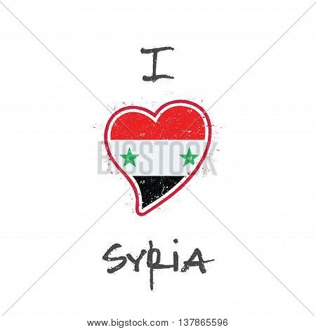 Syrian Flag Patriotic T-shirt Design. Heart Shaped National Flag Syrian Arab Republic On White Backg