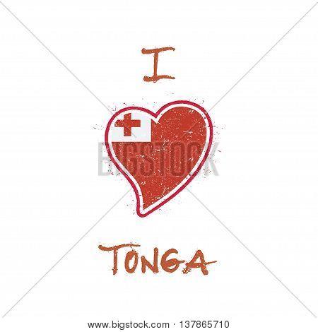 Tongan Flag Patriotic T-shirt Design. Heart Shaped National Flag Tonga On White Background. Vector I