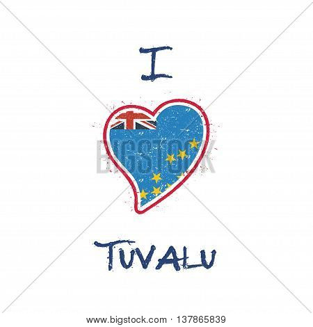 Tuvaluan Flag Patriotic T-shirt Design. Heart Shaped National Flag Tuvalu On White Background. Vecto