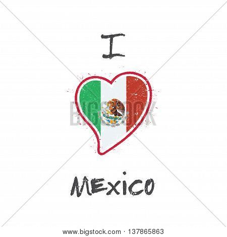 Mexican Flag Patriotic T-shirt Design. Heart Shaped National Flag Mexico On White Background. Vector