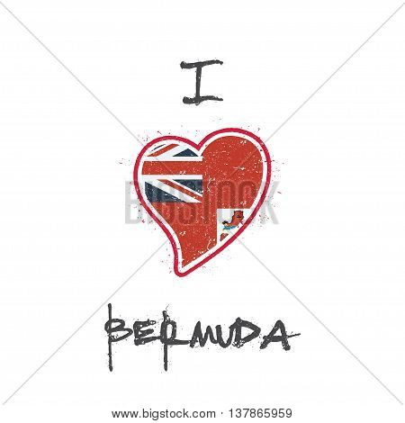 Bermudian Flag Patriotic T-shirt Design. Heart Shaped National Flag Bermuda On White Background. Vec