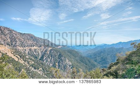 Angeles Crest Scenic Highway (SR2) cuts across the San Gabriel Mountains in the Angeles National Forest, California.
