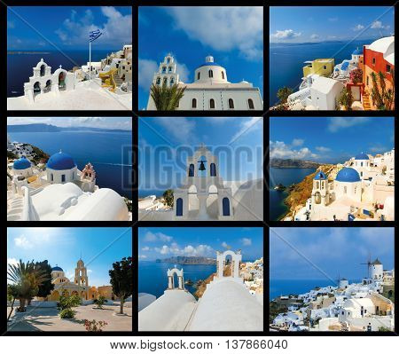 The collage of scenic views of traditional cycladic white houses and blue domes in Oia village, Santorini island, Greece