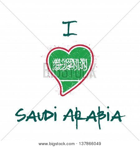Saudi Arabian Flag Patriotic T-shirt Design. Heart Shaped National Flag Saudi Arabia On White Backgr