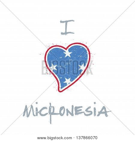 Micronesian Flag Patriotic T-shirt Design. Heart Shaped National Flag Micronesia, Federated States O
