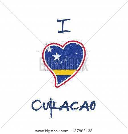 Dutch Flag Patriotic T-shirt Design. Heart Shaped National Flag Curacao On White Background. Vector