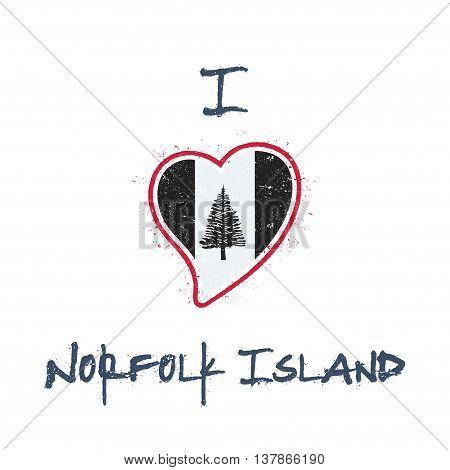 Norfolk Islander Flag Patriotic T-shirt Design. Heart Shaped National Flag Norfolk Island On White B