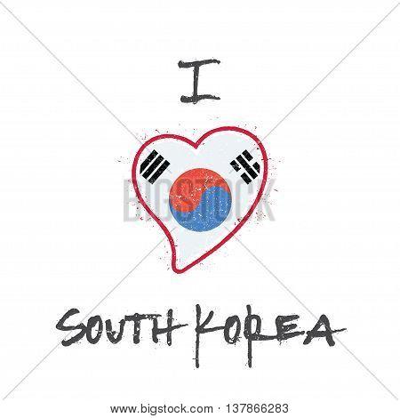 South Korean Flag Patriotic T-shirt Design. Heart Shaped National Flag Korea, Republic Of On White B