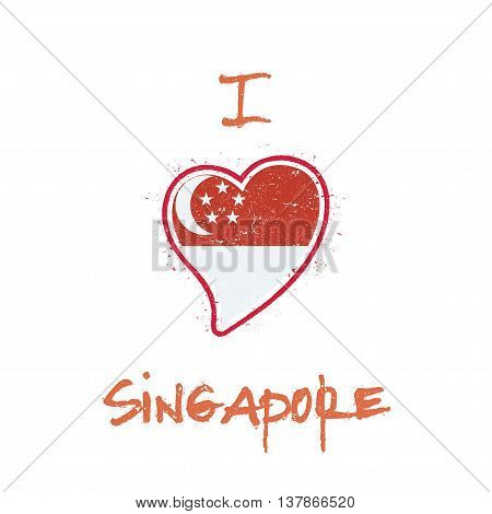 Singaporean Flag Patriotic T-shirt Design. Heart Shaped National Flag Singapore On White Background.