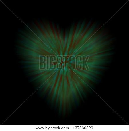 abstract colorful heart with rays isolated on black background. the concept of love Valentine's day