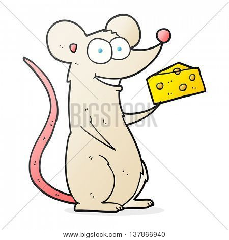 freehand drawn cartoon mouse with cheese