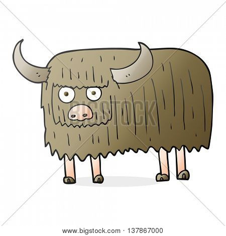freehand drawn cartoon hairy cow