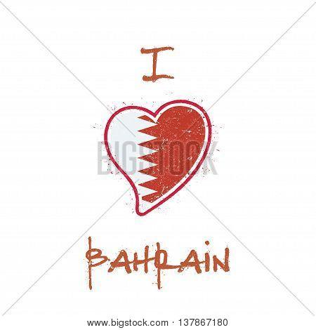 Bahraini Flag Patriotic T-shirt Design. Heart Shaped National Flag Bahrain On White Background. Vect