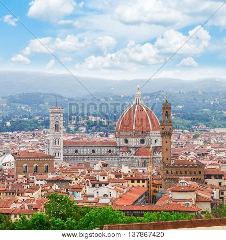 cityscape with cathedral church Santa Maria del Fiore above city, Florence, Italy