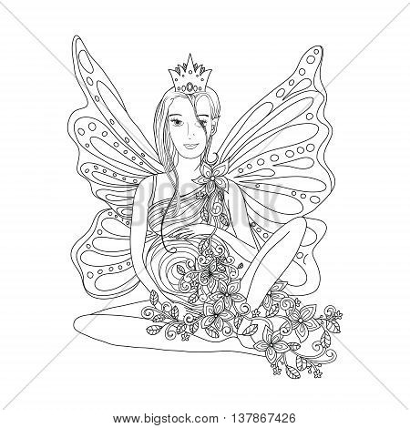 Adult coloring book page with Pregnant lady and wings. Doodle style art. Black and white