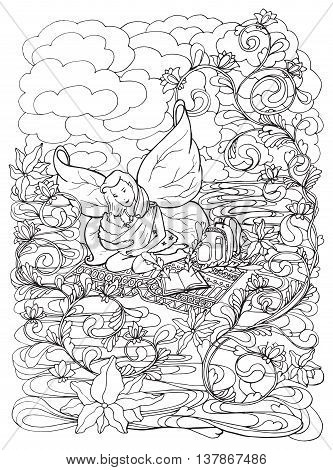 Adult coloring book page with Mother breast feeding her baby, infant .Mom nursing baby in doodle style art.Black and white