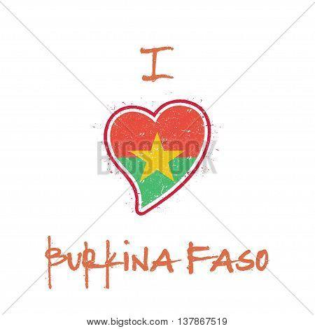 Burkinabe Flag Patriotic T-shirt Design. Heart Shaped National Flag Burkina Faso On White Background