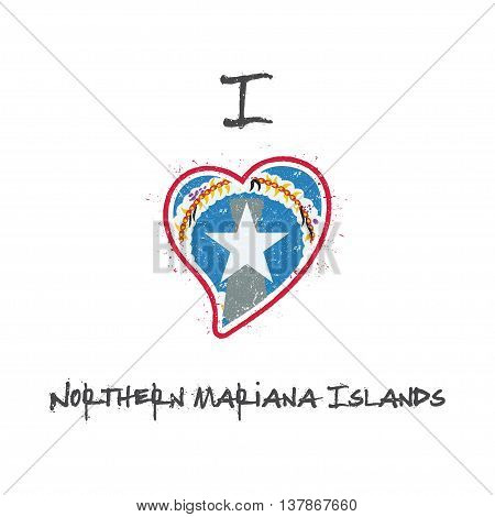 American Flag Patriotic T-shirt Design. Heart Shaped National Flag Northern Mariana Islands On White