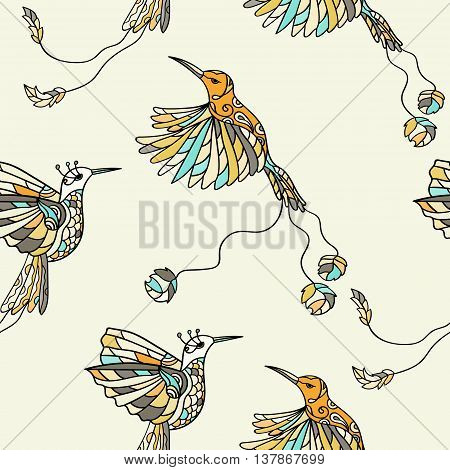Seamless pattern with colibri. Colored fantasy tropical birds. Vector illustration.