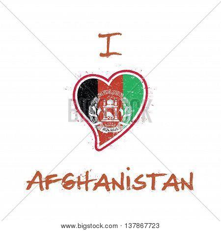 Afghan Flag Patriotic T-shirt Design. Heart Shaped National Flag Afghanistan On White Background. Ve