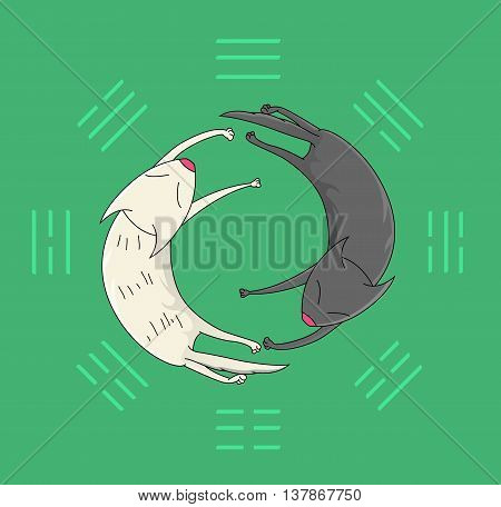 Two sleeping cats. Symbolic image of the mystical sign of yin yang on the background of trigrams. Vector