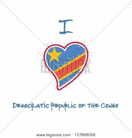 Congolese Flag Patriotic T-shirt Design. Heart Shaped National Flag Congo, The Democratic Republic O