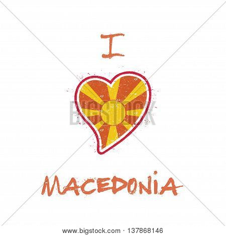 Macedonian Flag Patriotic T-shirt Design. Heart Shaped National Flag Macedonia, The Former Yugoslav