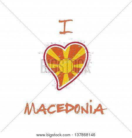 Macedonian Flag Patriotic T-shirt Design. Heart Shaped National Flag Macedonia, The Former Yugoslav