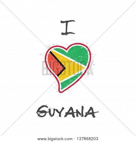 Guyanese Flag Patriotic T-shirt Design. Heart Shaped National Flag Guyana On White Background. Vecto