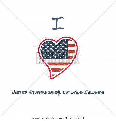 American Flag Patriotic T-shirt Design. Heart Shaped National Flag United States Minor Outlying Isla